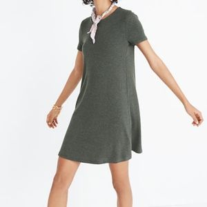 Madewell Ribbed Swingy Tee Dress Olive Green Small